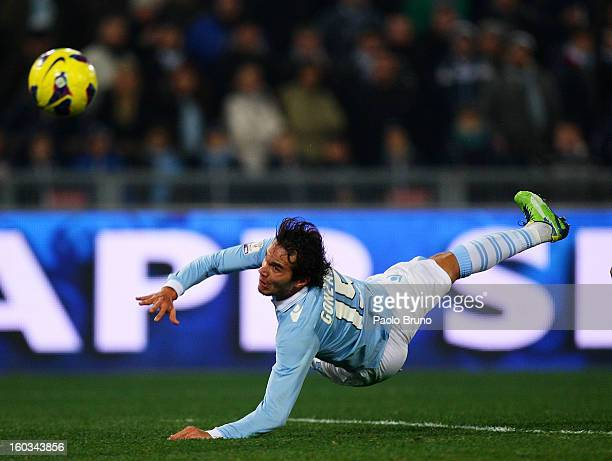 Alvaro Gonzalez of SS Lazio scores the opening goal during the TIM cup match between SS Lazio and Juventus FC at Stadio Olimpico on January 29 2013...