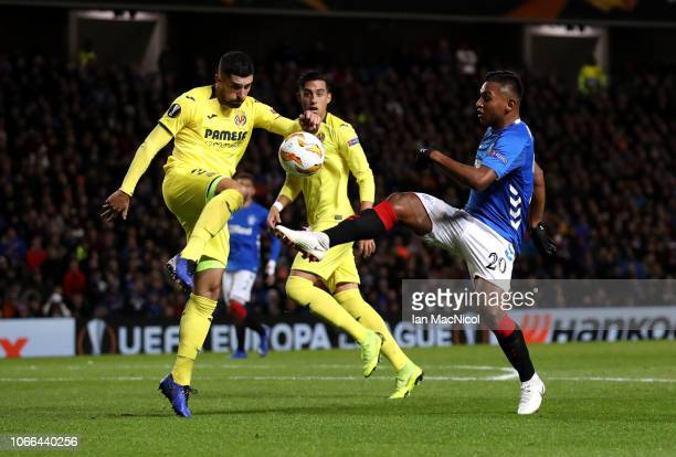 Alvaro Gonzalez of Villareal battles for possession with Alfredo Morelos of Rangers during the UEFA Europa League Group G match between Rangers and...