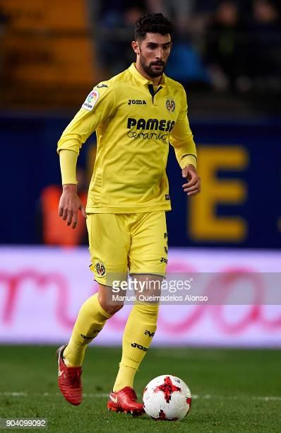 Alvaro Gonzalez of Villarreal runs with the ball during the Copa del Rey Round of 16 second Leg match between Villarreal CF and Leganes at Estadio de...
