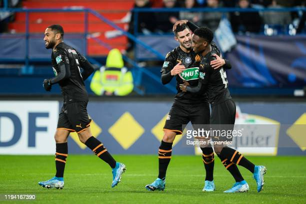 Alvaro GONZALEZ SOBERON of Marseille celebrates his goal with Bouna SARR of Marseille during the French Cup Soccer match between US Granville and...