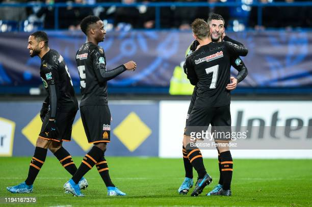 Alvaro GONZALEZ SOBERON of Marseille celebrates his goal with team mates during the French Cup Soccer match between US Granville and Olympique de...