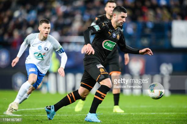 Alvaro GONZALEZ SOBERON scores his goal of Marseille during the French Cup Soccer match between US Granville and Olympique de Marseille at Stade...
