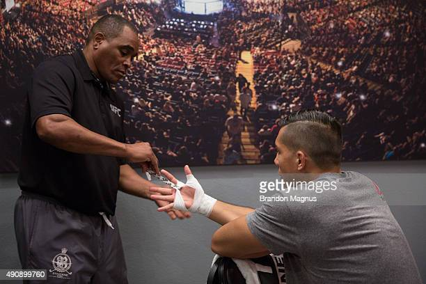 Alvaro Herrera gets his hands wrapped before facing Hector Aldana during the filming of The Ultimate Fighter Latin America Team Gastelum vs Team...