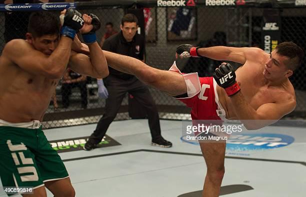 Alvaro Herrera kicks Hector Aldana during the filming of The Ultimate Fighter Latin America Team Gastelum vs Team Escudero on April 10 2015 in Las...