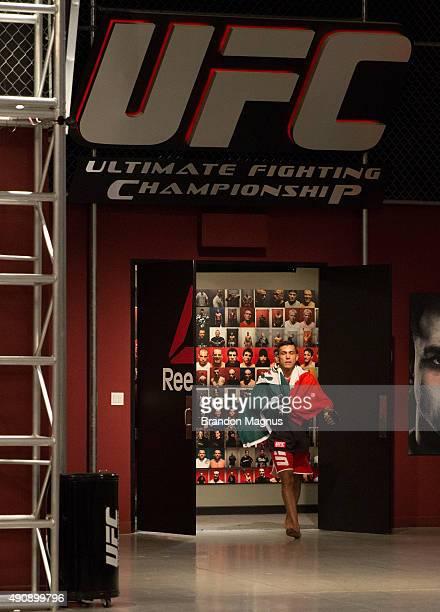 Alvaro Herrera prepares to enter the Octagon before facing Hector Aldana during the filming of The Ultimate Fighter Latin America Team Gastelum vs...
