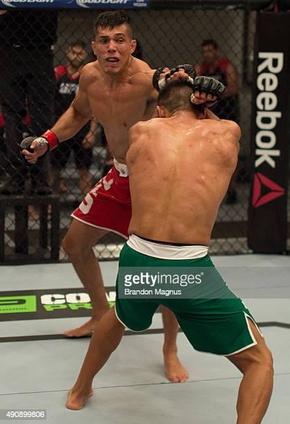 Alvaro Herrera punches Hector Aldana during the filming of The Ultimate Fighter Latin America Team Gastelum vs Team Escudero on April 10 2015 in Las...