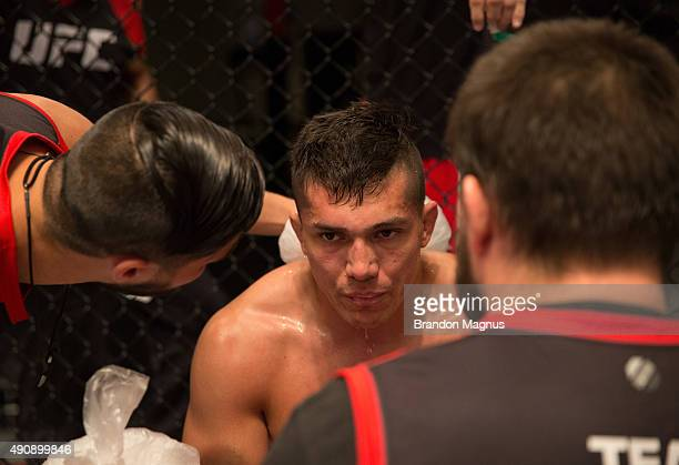 Alvaro Herrera receives advice from his corner while facing Hector Aldana during the filming of The Ultimate Fighter Latin America Team Gastelum vs...
