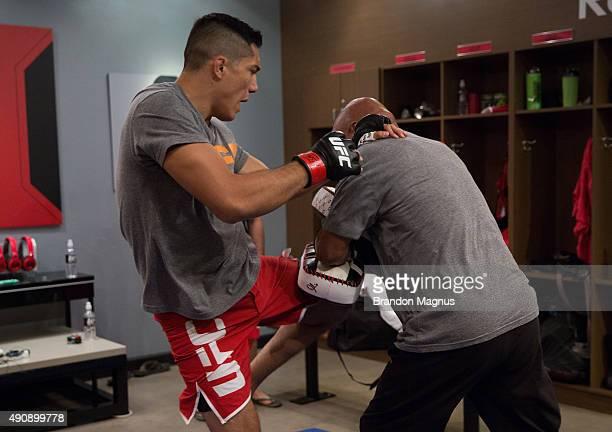 Alvaro Herrera warms up before facing Hector Aldana during the filming of The Ultimate Fighter Latin America Team Gastelum vs Team Escudero on April...