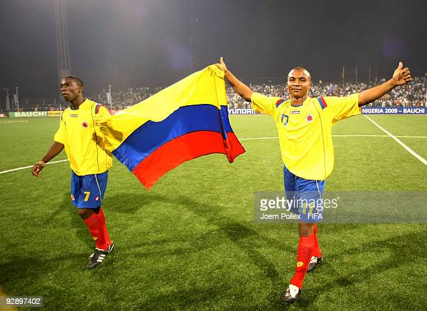 Alvaro Hungria and Fabian Castillo of Colombia celebrate after the FIFA U17 World Cup Quarter Final match between Colombia and Turkey at the Abubakar...