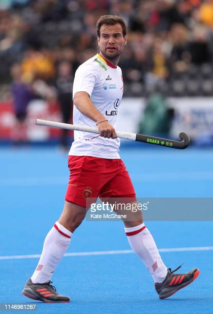 Alvaro Iglesias of Spain appeals to the match umpire during the Men's FIH Field Hockey Pro League match between Great Britain and Spain at Lee Valley...