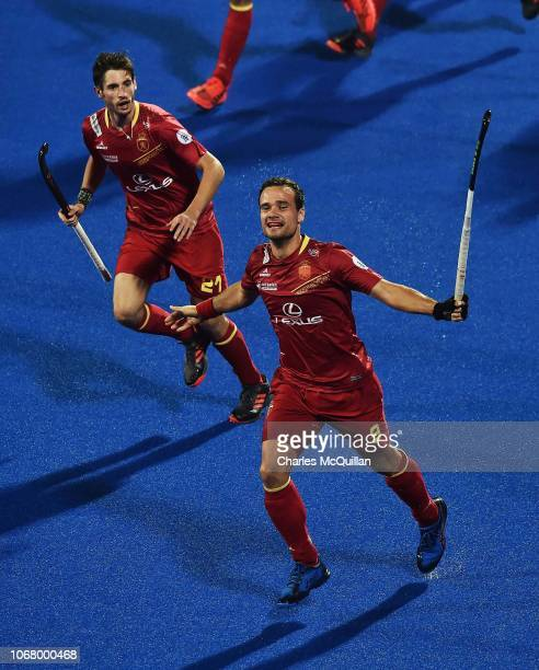 Alvaro Iglesias of Spain celebrates after scoring during the FIH Men's Hockey World Cup Pool A match between Spain and France at Kalinga Stadium on...