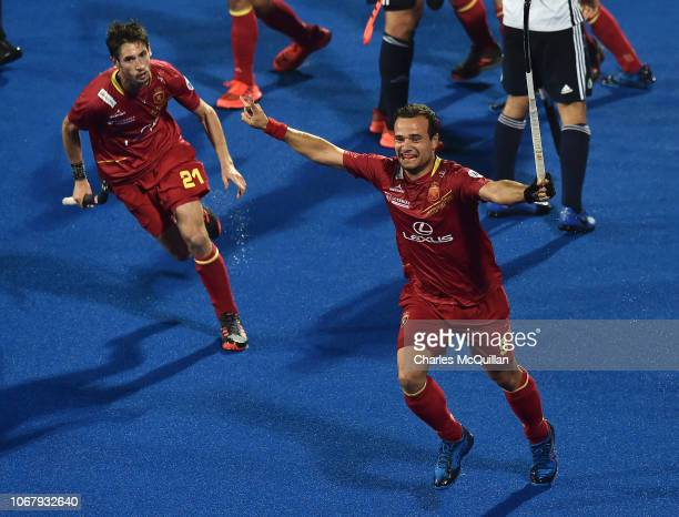 Alvaro Iglesias of Spain celebrates during the FIH Men's Hockey World Cup Pool A match between Spain and France at Kalinga Stadium on November 3 2018...