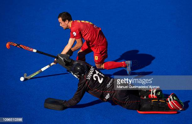 Alvaro Iglesias of Spain competes for the ball with Vicent Vanasch of Belgium during the Men's FIH Field Hockey Pro League match between Spain and...
