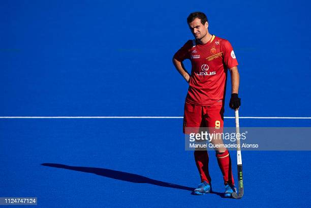 Alvaro Iglesias of Spain looks dejected during the Men's FIH Field Hockey Pro League match between Spain and Great Britain at Polideportivo Virgel...