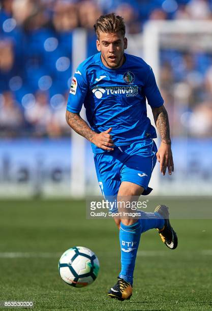 Alvaro Jimenez of Getafe runs with the ball during the La Liga match between Getafe and Villarreal at Coliseum Alfonso Perez on September 24 2017 in...