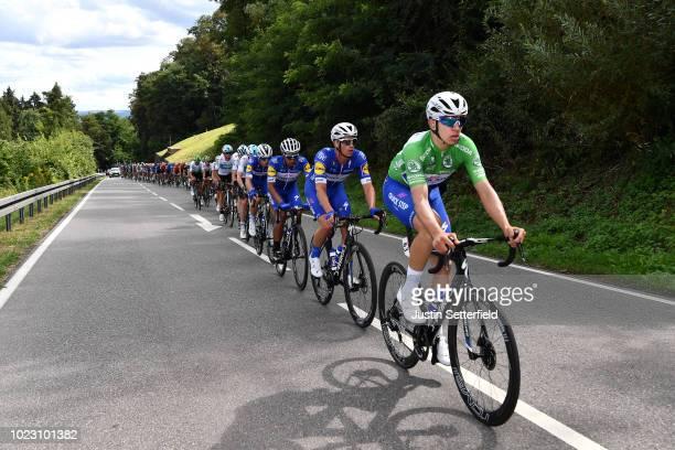 Alvaro Jose Hodeg of Colombia and Team Quick-Step Floors Green Sprint Jersey / Iljo Keisse of Belgium and Team Quick-Step Floors / Peloton / during...