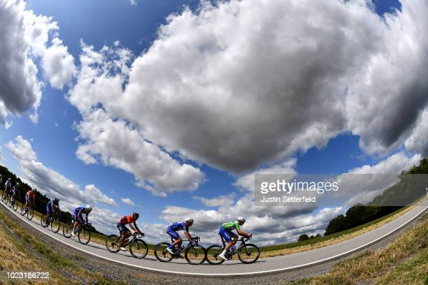 Alvaro Jose Hodeg of Colombia and Team Quick-Step Floors Green Sprint Jersey / Iljo Keisse of Belgium and Team Quick-Step Floors / Meiyin Wang of...