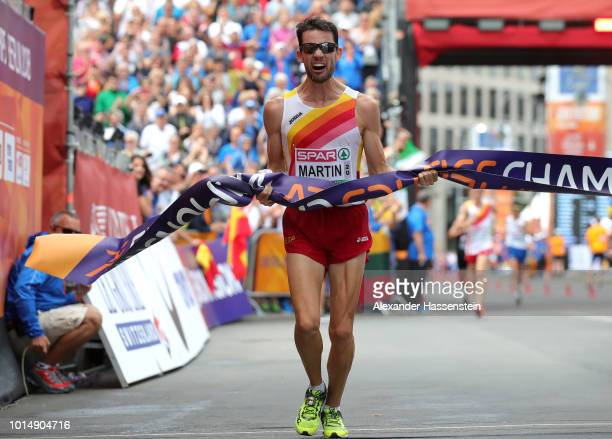 Alvaro Martin of Spain celebrates winning the Gold medal in in the Men's 20km Race Walk as he crosses the line during day five of the 24th European...