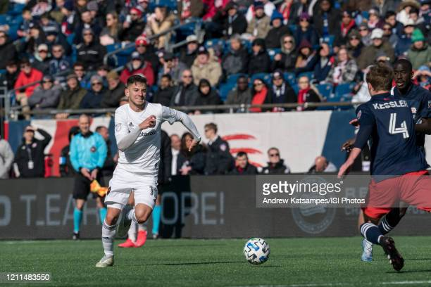 Alvaro Medran of Chicago Fire chases down a pass during a game between Chicago Fire and New England Revolution at Gillette Stadium on March 7 2020 in...