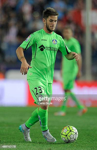 Alvaro Medran of Getafe in action during the La Liga match between Atletico de Madrid and Getafe at Vicente Calderon Stadium on September 22 2015 in...