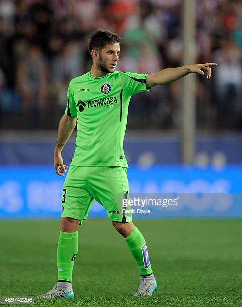 Alvaro Medran of Getafe points during the La Liga match between Atletico de Madrid and Getafe at Vicente Calderon Stadium on September 22 2015 in...