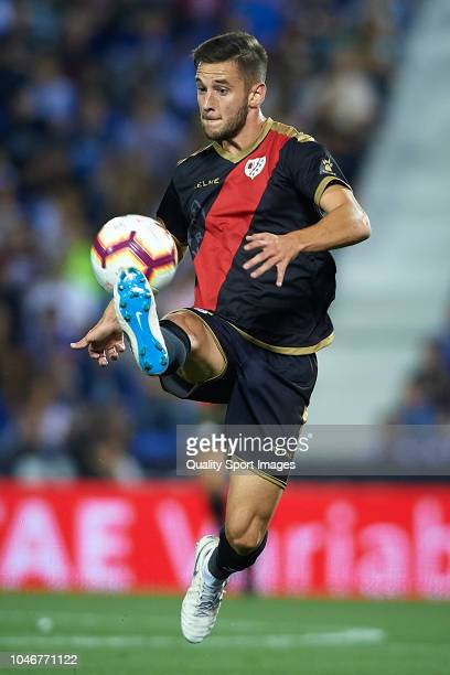 Alvaro Medran of Rayo Vallecano de Madrid in action during the La Liga match between CD Leganes and Rayo Vallecano de Madrid at Estadio Municipal de...