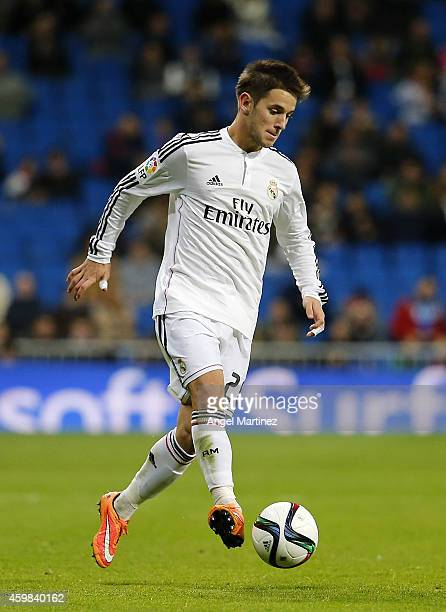 Alvaro Medran of Real Madrid in action during the Copa del Rey round of 32 second leg match between Real Madrid and UD Cornella at Estadio Santiago...