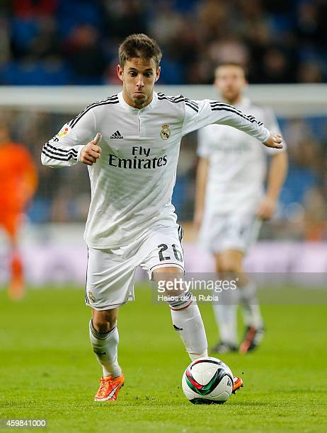 Alvaro Medran of Real Madrid in actions during the Copa del Rey round of 32 second leg match between Real Madrid and UD Cornella at Estadio Santiago...