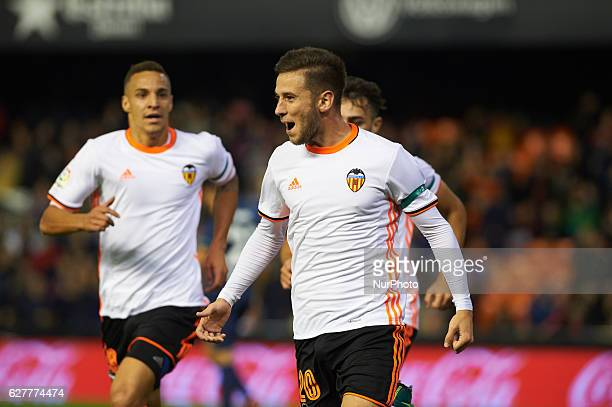 Alvaro Medran of Valencia CF celebrates his goal during the La Liga match between Valencia CF vs Malaga CF at Estadio de Mestalla on december 4 2016...