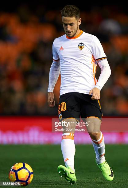 Alvaro Medran of Valencia controls the ball during the La Liga match between Valencia CF and SD Eibar at Mestalla Stadium on February 4 2017 in...