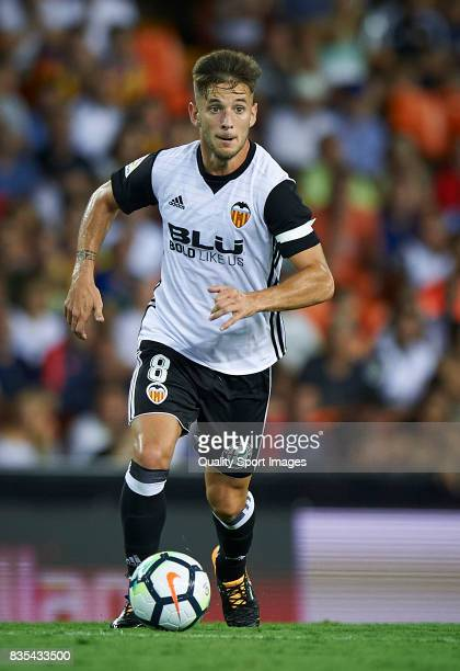 Alvaro Medran of Valencia in action during the La Liga match between Valencia and Las Palmas at Estadio Mestalla on August 18 2017 in Valencia