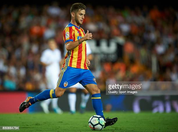 Alvaro Medran of Valencia in action during the preseason friendly match between Valencia CF and Atalanta BC at Estadio Mestalla on August 11 2017 in...