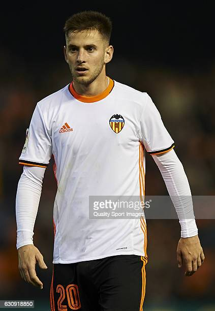 Alvaro Medran of Valencia looks on during the Copa del Rey round of 16 first leg match between Valencia CF and Celta de Vigo at Estadi de Mestalla on...