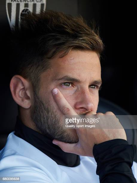 Alvaro Medran of Valencia looks on prior the La Liga match between Valencia CF and CA Osasuna at Mestalla Stadium on May 7 2017 in Valencia Spain
