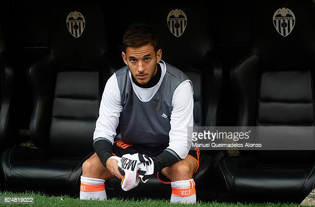 Alvaro Medran of Valencia sits on the substitutes bench prior to the La Liga match between Valencia CF and Granada CF at Mestalla Stadium on November...