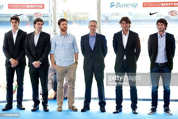 Alvaro Morata Aitor Karanka Xabi Alonso Real Madrid's Coach Jose Mourinho Spanish tennis player Rafael Nadal and Esteban Granero attend 'Alma Nadal'...