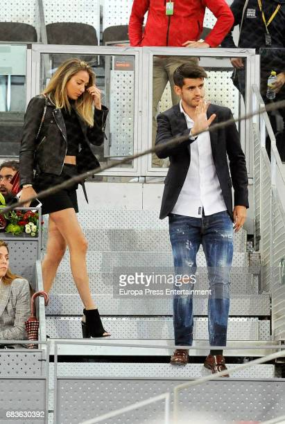 Alvaro Morata and Alice Campello attend Mutua Madrid Open tennis at La Caja Magica on May 12 2017 in Madrid Spain