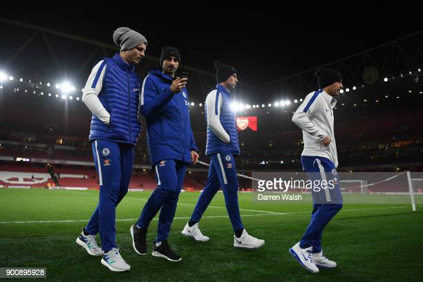 Alvaro Morata and Davide Zappacosta of Chelsea ahead of the Premier League match between Arsenal and Chelsea at Emirates Stadium on January 3 2018 in...