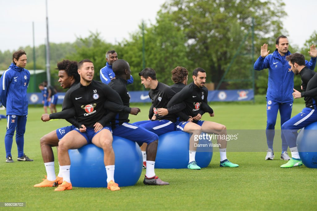 Alvaro Morata and Davide Zappacosta of Chelsea during a Strength and Conditioning training session at Chelsea Training Ground on May 16, 2018 in Cobham, England.
