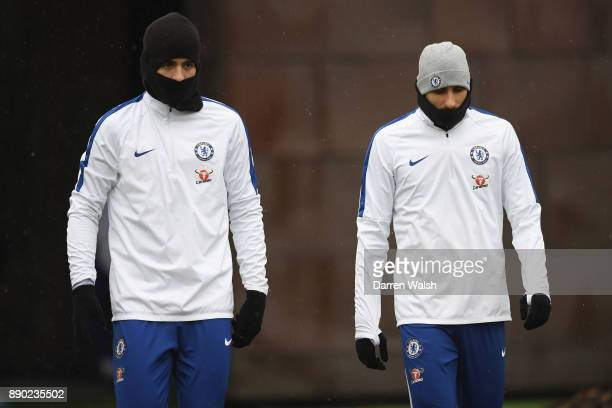 Alvaro Morata and Davide Zappacosta of Chelsea during a training session at Chelsea Training Ground on December 11 2017 in Cobham England