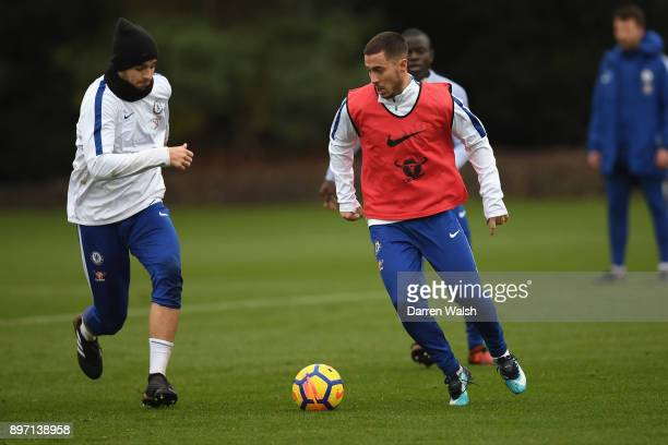 Alvaro Morata and Eden Hazard of Chelsea during a training session at Chelsea Training Ground on December 22 2017 in Cobham England