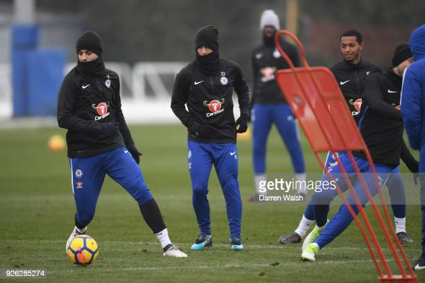 Alvaro Morata and Eden Hazard of Chelsea during a training session at Chelsea Training Ground on March 2 2018 in Cobham England
