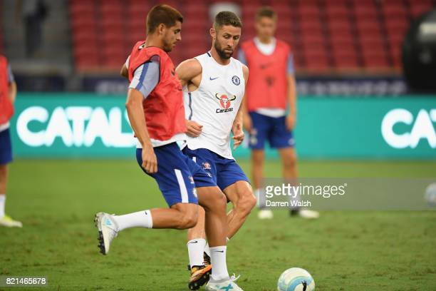 Alvaro Morata and Gary Cahill of Chelsea during a training session at Singapore National Stadium on July 24, 2017 in Singapore.