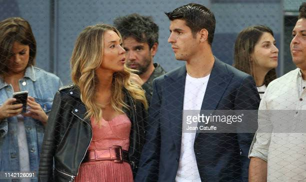 Alvaro Morata and his wife Alice Campello attend the victory of Roger Federer of Switzerland during day 4 of the Mutua Madrid Open at La Caja Magica...