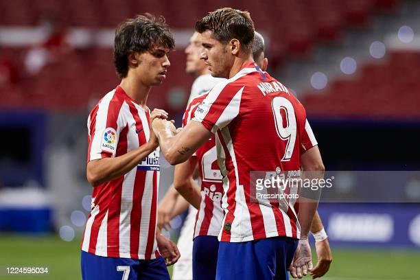 Alvaro Morata and Joao Felix of Atletico de Madrid during the La Liga match between Atletico de Madrid and RCD Mallorca played at Wanda Metropolitano...