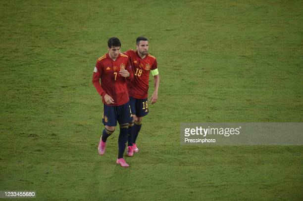 Alvaro Morata and Jordi Alba of Spain during the match between Spain and Sweden of Euro 2020, group E, matchday 1, played at La Cartuja Stadium on...