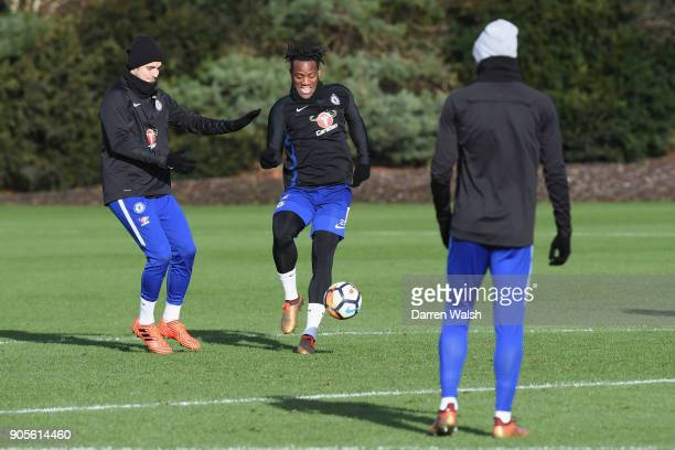 Alvaro Morata and Michy Batshuayi of Chelsea during a training session at Chelsea Training Ground on January 16 2018 in Cobham England