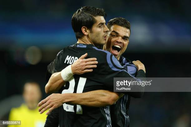 Alvaro Morata and Pepe of Real Madrid celebration after the goal of 13 during the UEFA Champions League Round of 16 second leg match between SSC...