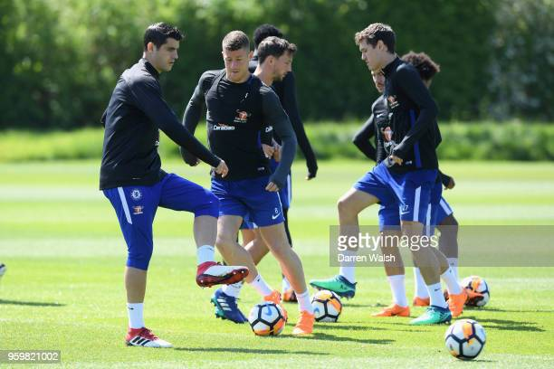 Alvaro Morata and Ross Barkley of Chelsea during a training session at Chelsea Training Ground on May 18 2018 in Cobham England