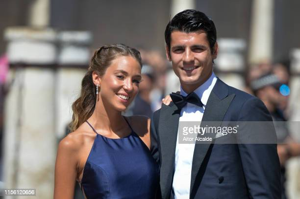 Alvaro Morata and wife Alice Campello attend the wedding of real Madrid football player Sergio Ramos and Tv presenter Pilar Rubio at Seville's...